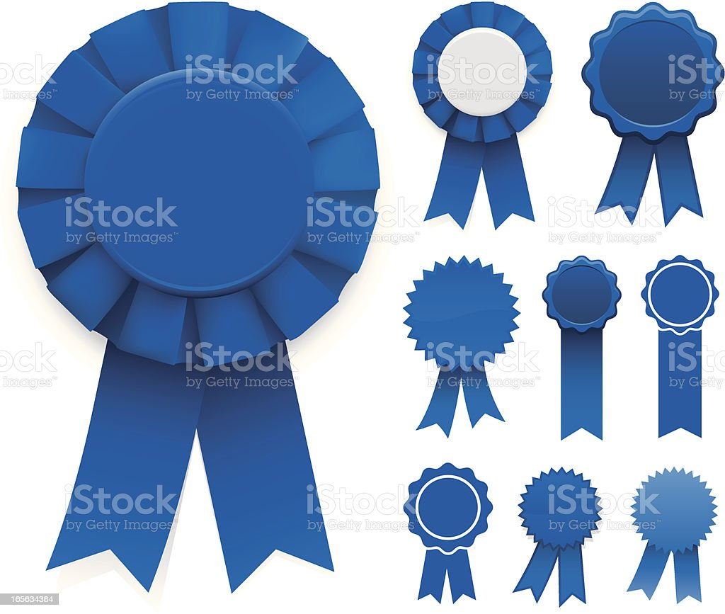 Blue Ribbons vector art illustration