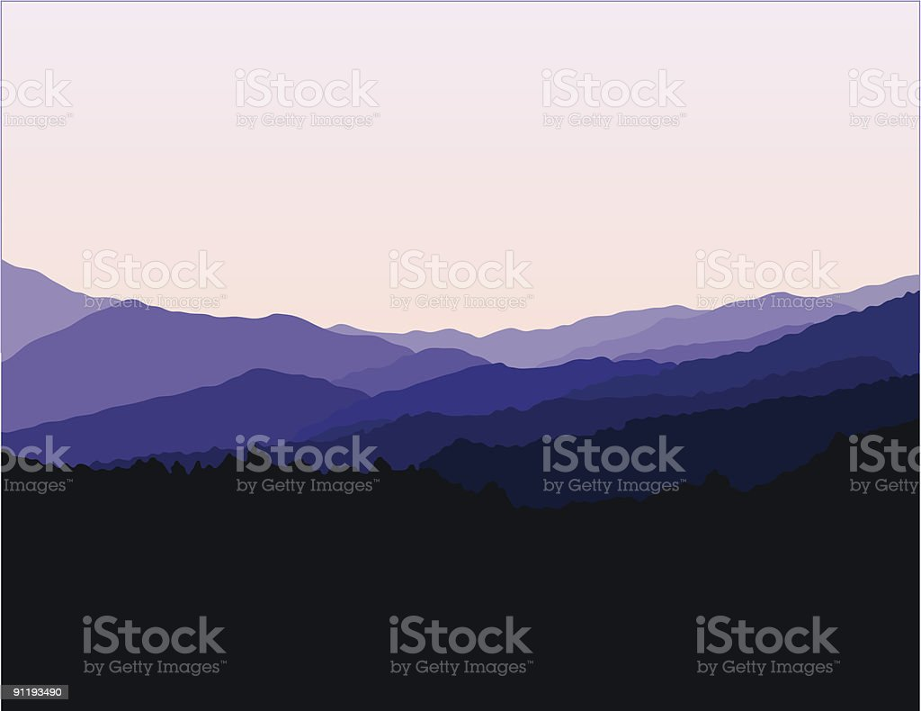 Blue Ridge Mountains Landscape vector art illustration