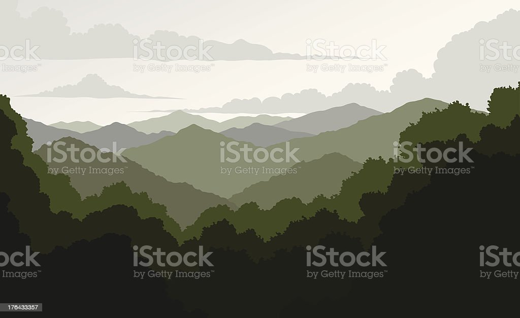 Blue Ridge Mountains vector art illustration