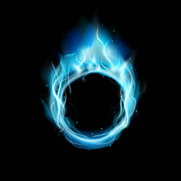 Blue ring of Fire with black background vector art illustration