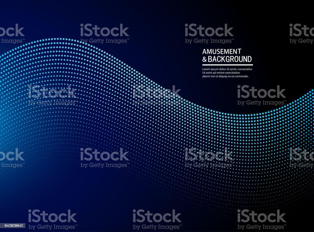 Blue ripple particle background vector art illustration