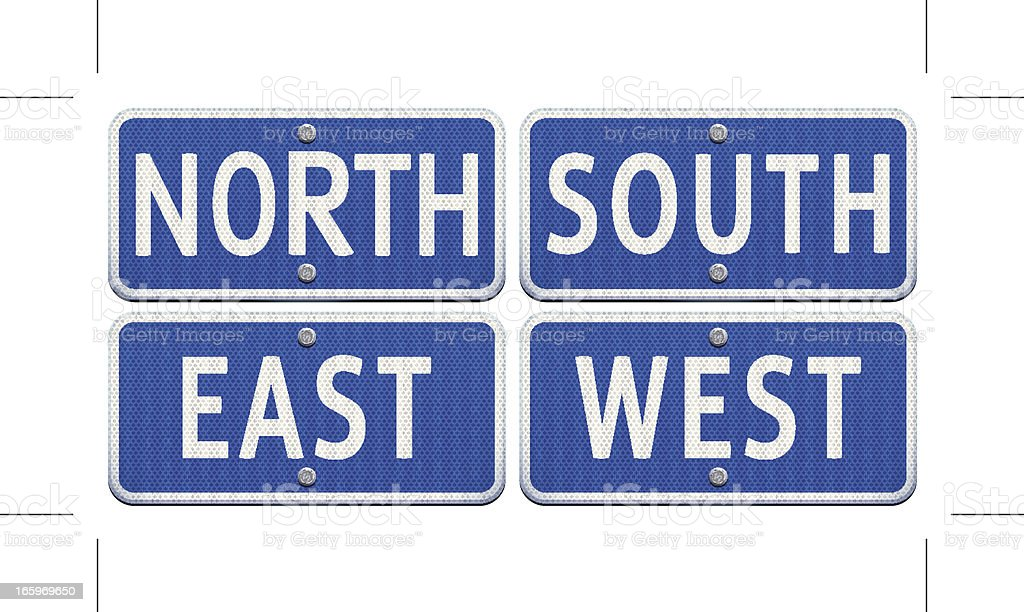 blue road signs with cardinal points royalty-free stock vector art
