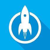 Vector illustration of a white rocket emblem with shadow of a blue background.