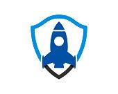 istock Blue rocket inside the shield 1280440758