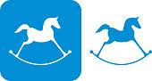 istock Blue Rocking Horse Icons 893879902