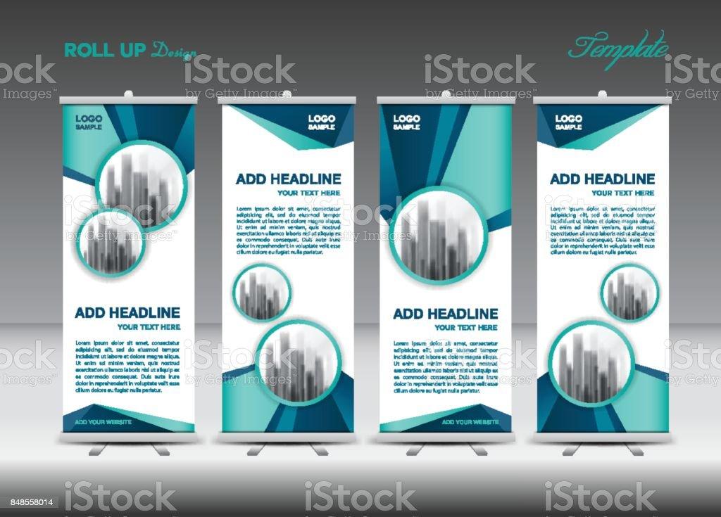 Azul Roll Up Vector De Plantilla De Banner Flyer Publicidad Xbanner ...