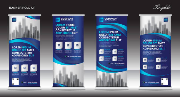 blue Roll up banner template vector, flyer, advertisement, x-banner, poster, pull up design, display, layout vector illustration vector art illustration