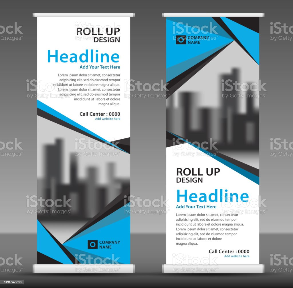 blue roll up banner template vertical banner design poster