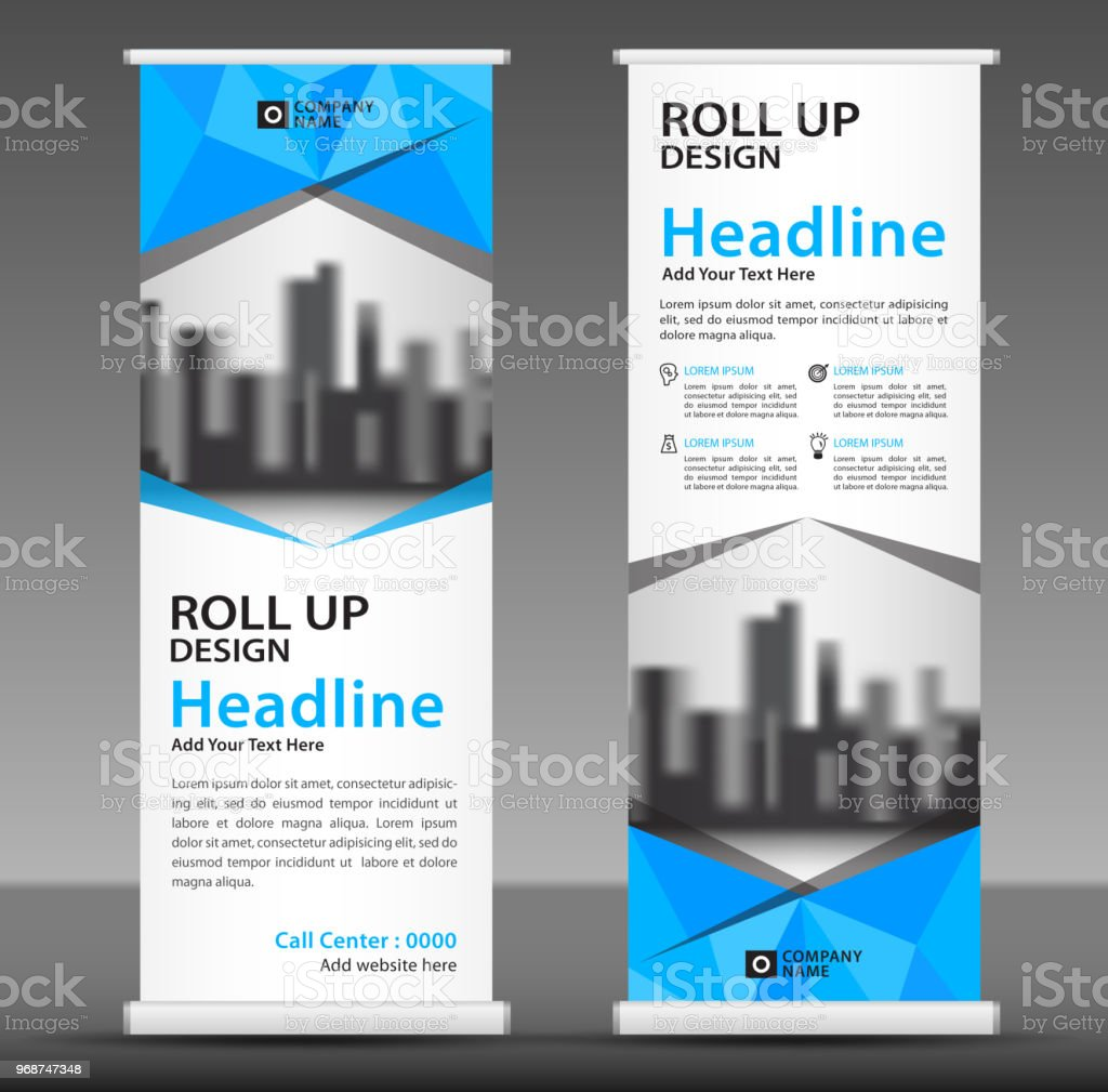 blue roll up banner template vertical banner design poster advertisement layout pull
