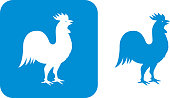 Vector illustration of two blue rooster icons.
