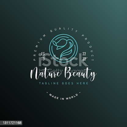 istock Blue rose Logo Design Template. Floral symbol of spa, beauty salon or body clinic Icon Line Art Vector 1311721168