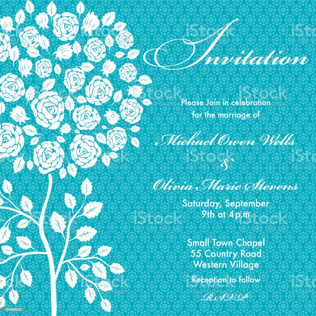 Blue Rose Tree Wedding Invitation royalty-free stock vector art