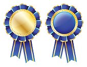 Blue rosette, badge with gold border, ribbon and golden laurel wreath isolated on white background