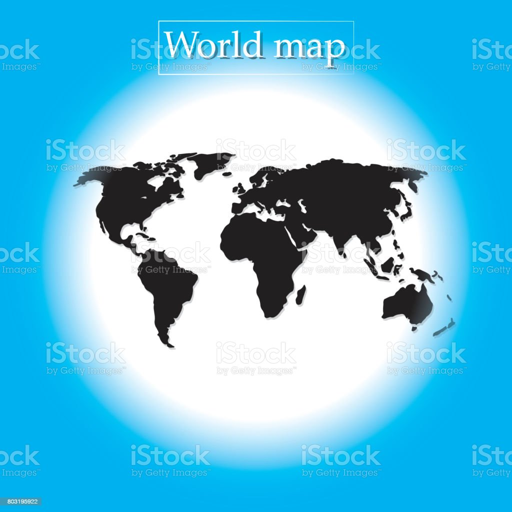 Blue Round Background World Map Vector Political Illustration - Round world map image