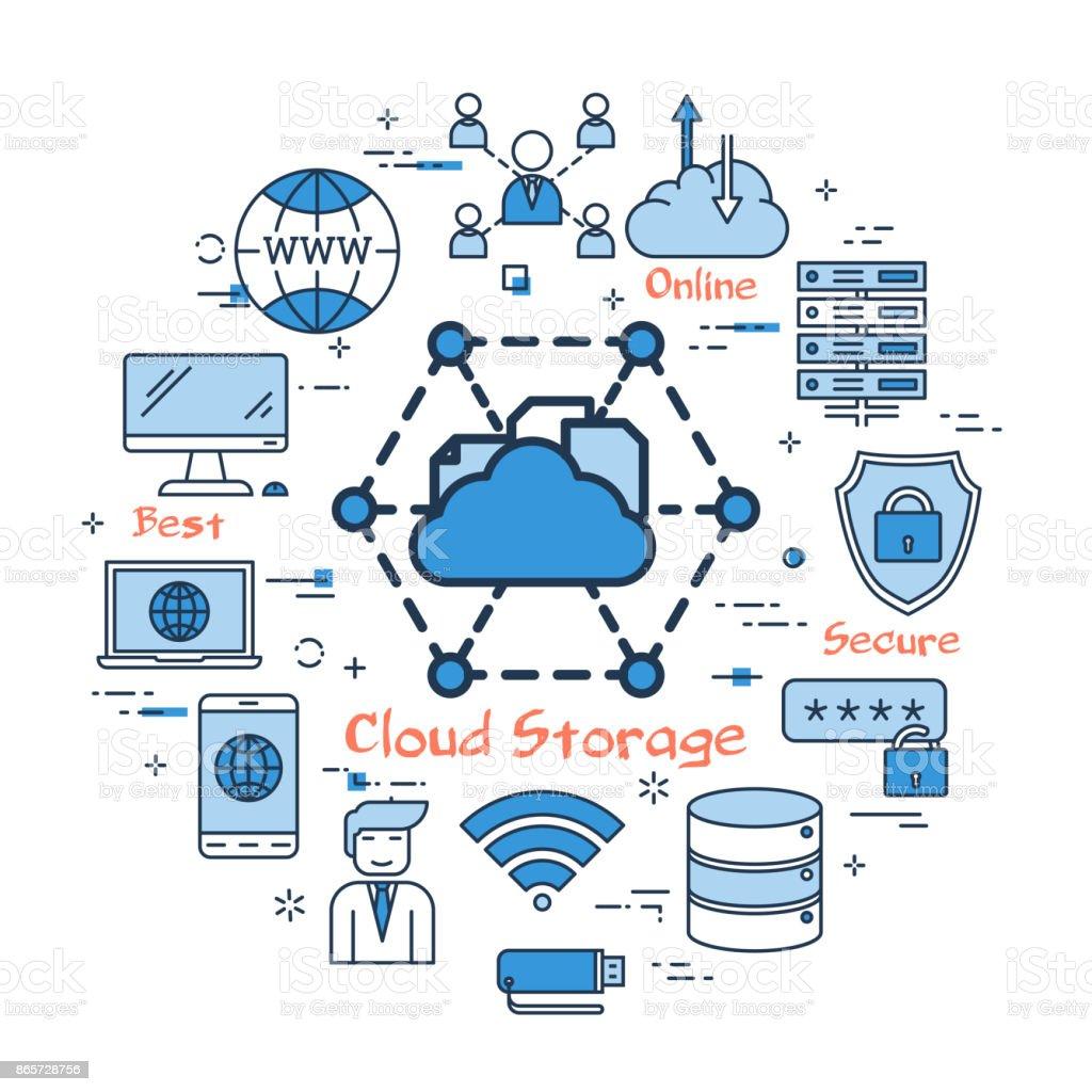 Blue round cloud storage concept vector art illustration