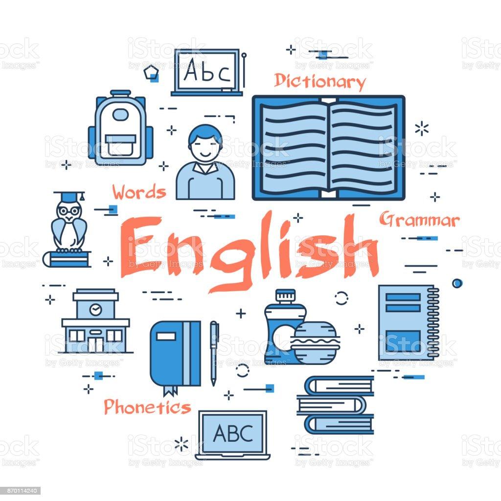 Blue round English Subject concept vector art illustration