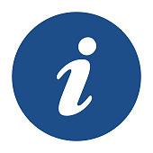 istock Blue round information icon, button on a white background 1192499077