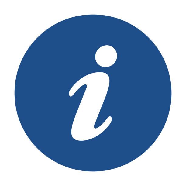 파란색 둥근 정보 아이콘, 흰색 배경의 버튼 - 정보 매체 stock illustrations