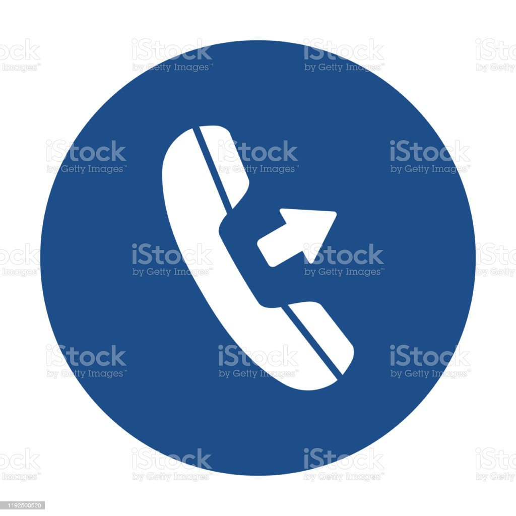 Blue Round Outgoing Call Icon Button On A White Background ...