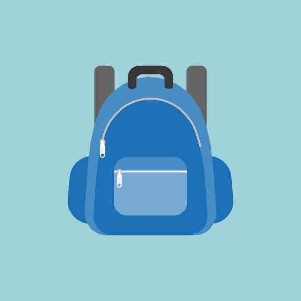 blue rucksack or backpack illustration – artystyczna grafika wektorowa