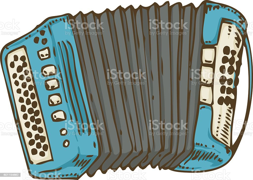 Blue Russian Bayan or Accordion - ilustración de arte vectorial