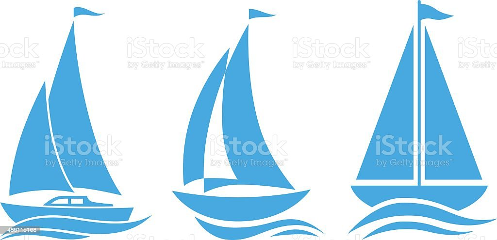 Blue sailboat icons vector art illustration