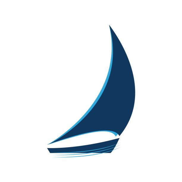 Blue sailboat on the waves vector logo vector art illustration
