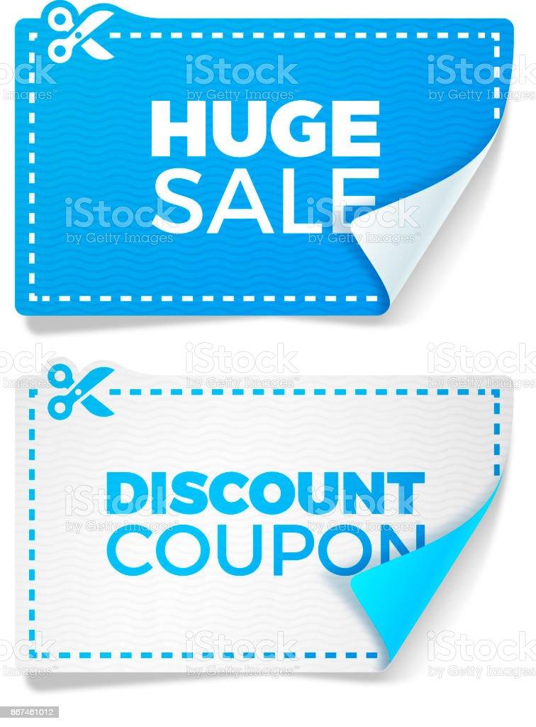 Blue Sale Discount Coupons vector art illustration