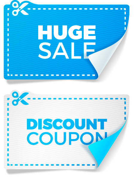 Blue Sale Discount Coupons Sale and discouunt special offer coupons with copy space. commercial event stock illustrations