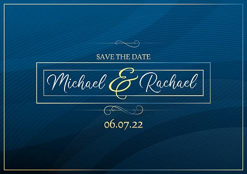 Blue save the date wedding invitation