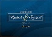 Blue wedding invitation with abstract bubbles pattern background