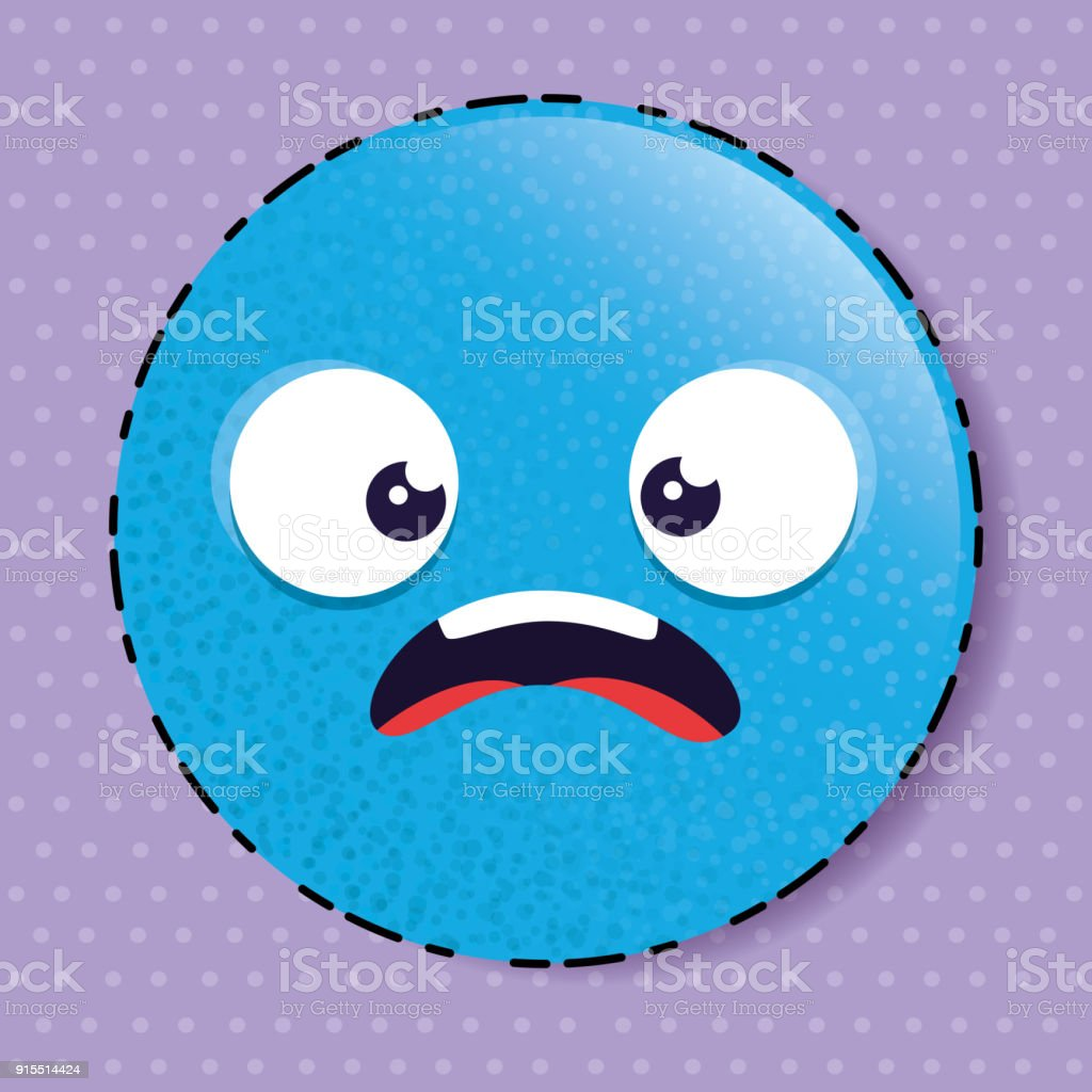 Blue Scared Emoji Emoticon Character Stock Illustration