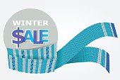 vector illustration of blue knitted scarf with label of Xmas sale