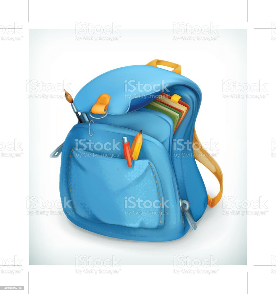 Blue school bag, backpack, education, back to school, vector icon​​vectorkunst illustratie