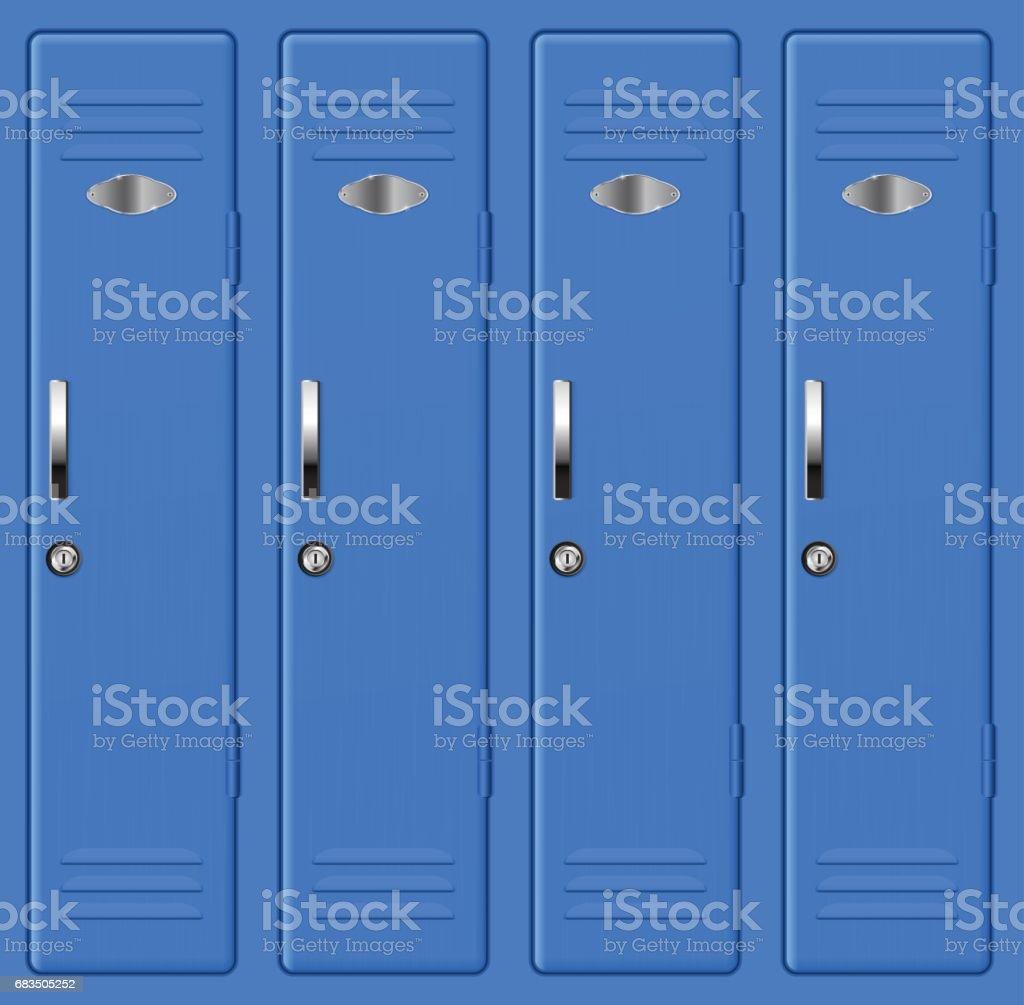 Blue school lockers vector art illustration
