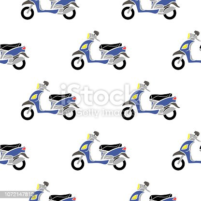 Blue Scooters Isolated on White Background. Seamless Minibike Pattern