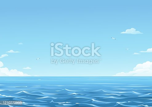 Sea waves and a blue sky with white clouds in the background. Vector illustration with space for text. Concept for environment, travel and nature.