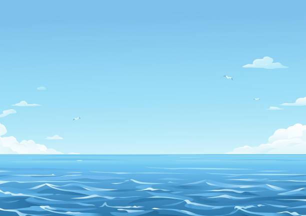 푸른 바다 배경 - 바다 stock illustrations