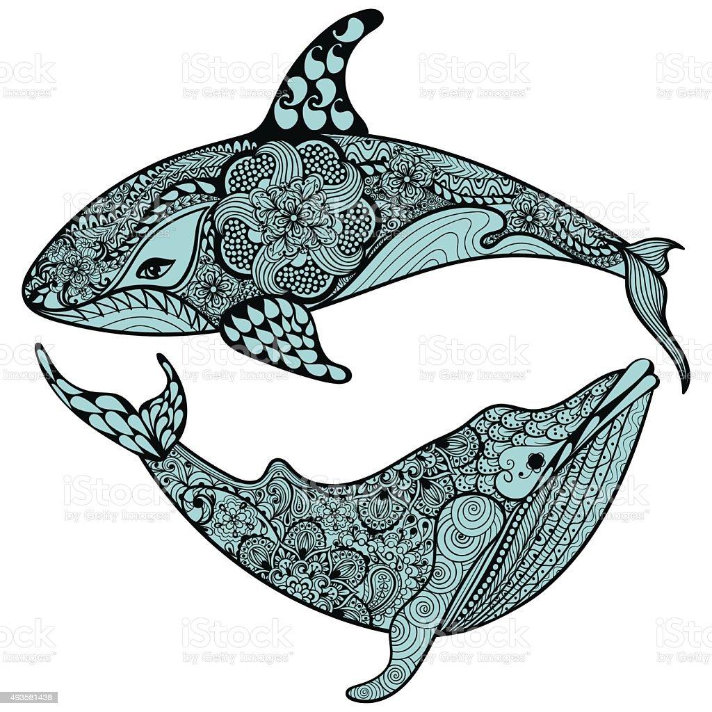 Ilustración de Zentangle Hermoso Mar De Tiburón Ballena Azul Y ...