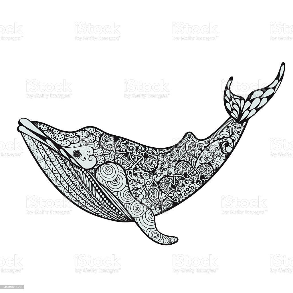 Ballena Azul Zentangle Hermoso Mar Dibujo A Mano Vector Illustratio ...