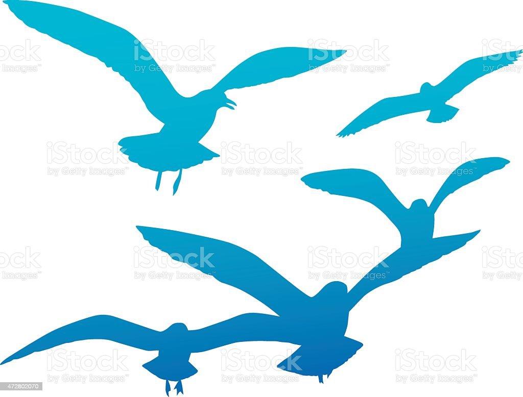 Blue Seagulls Silhouette vector art illustration
