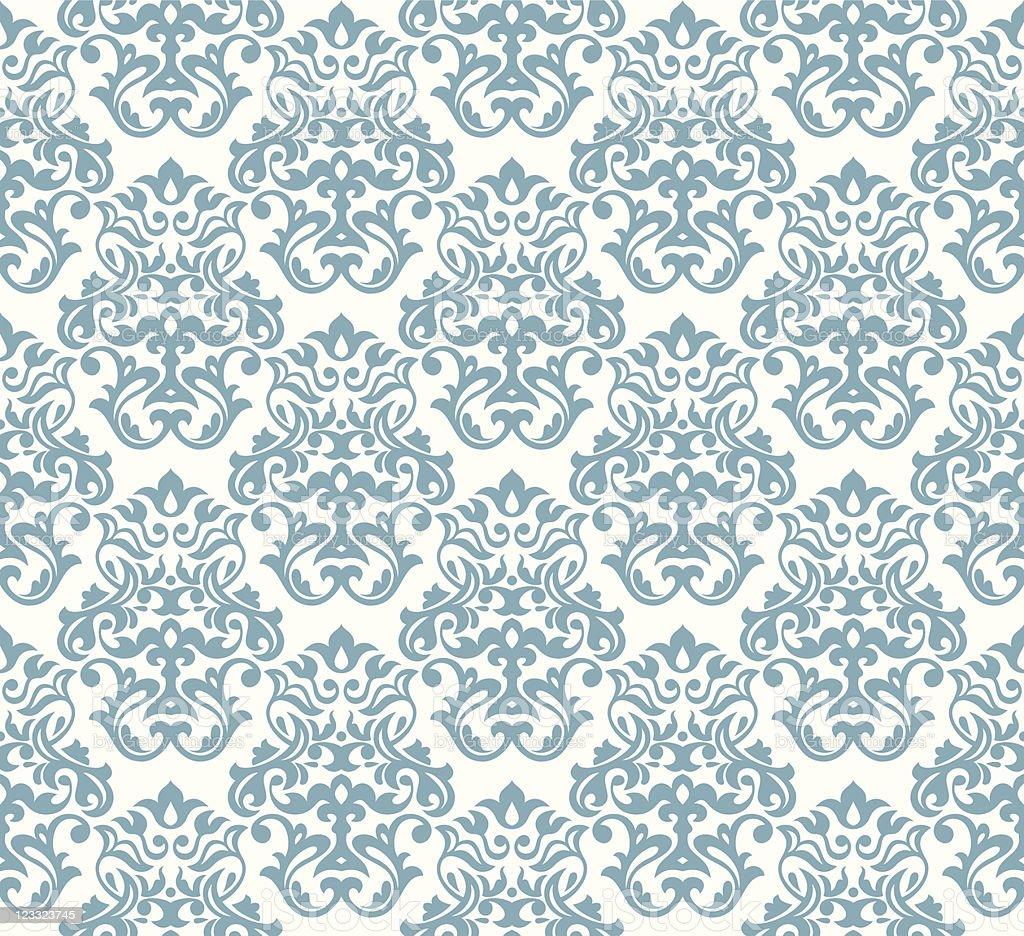 Blue seamless damask background vector art illustration