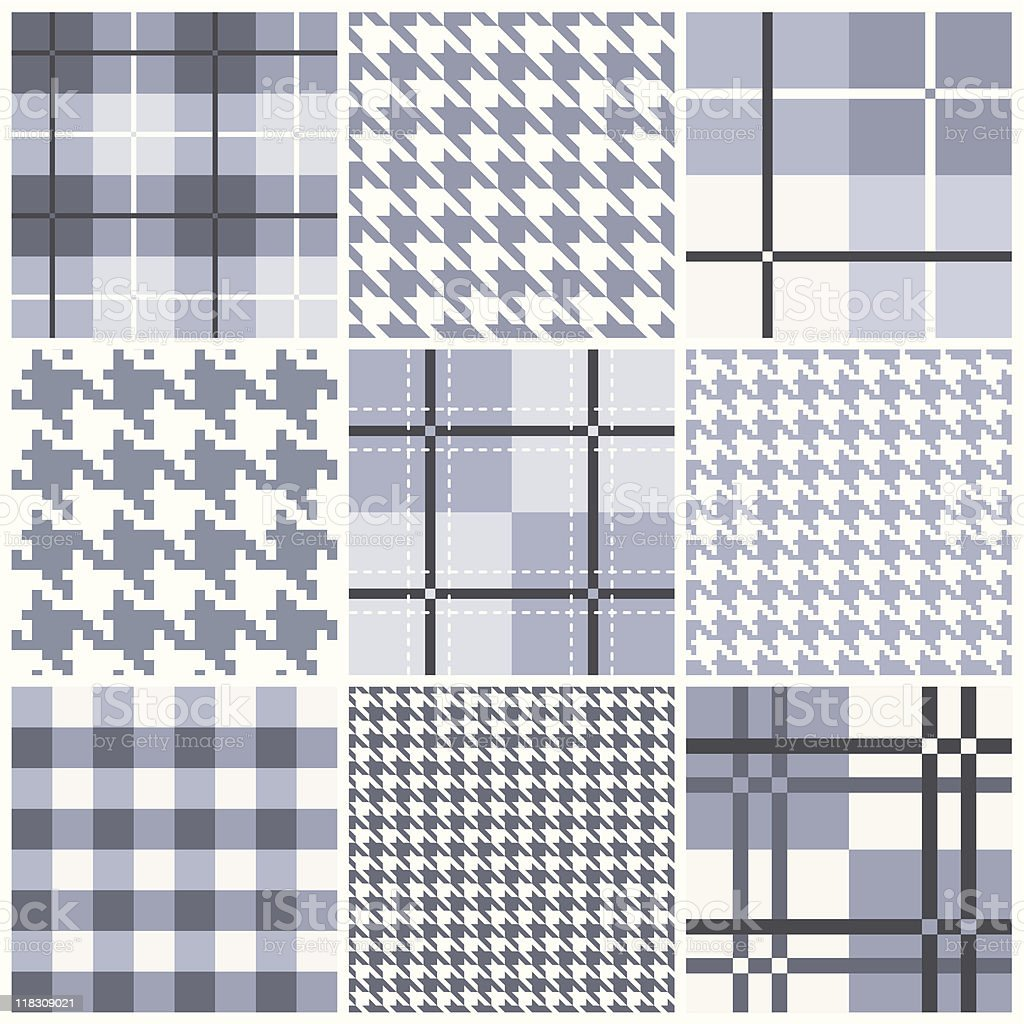 Blue seamless pattern collection vector art illustration