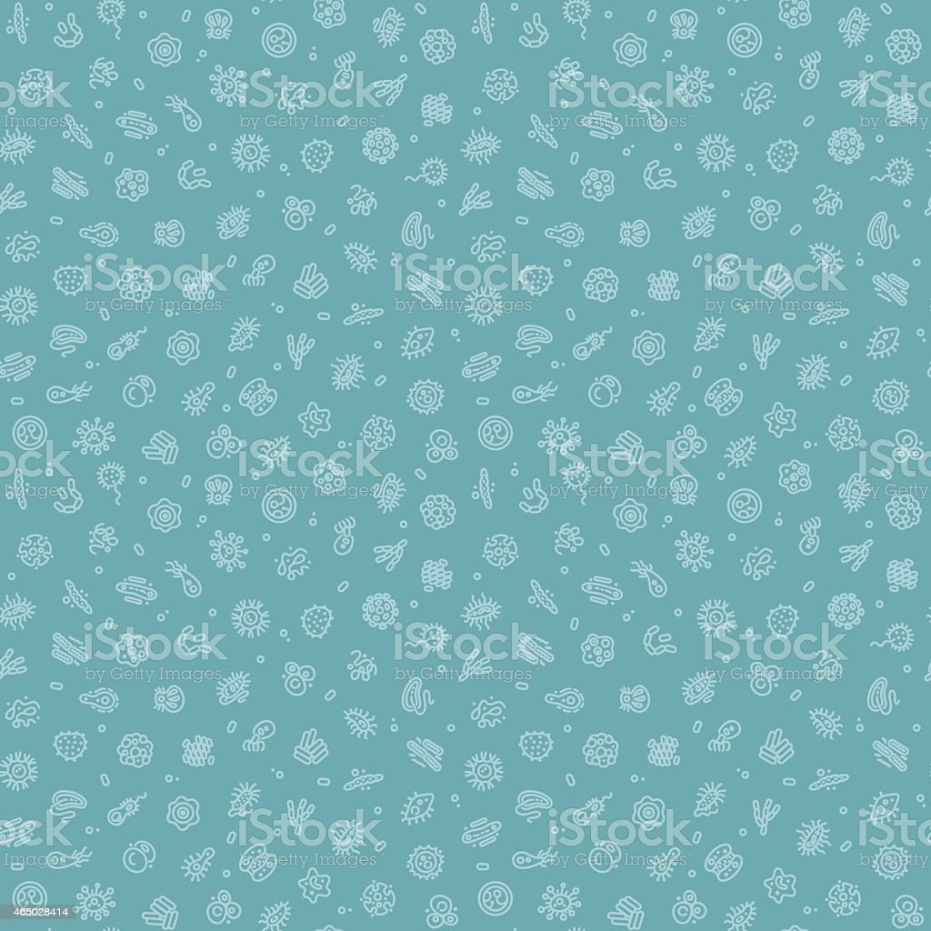 Blue Seamless Pattern with Bacteria and Germs vector art illustration