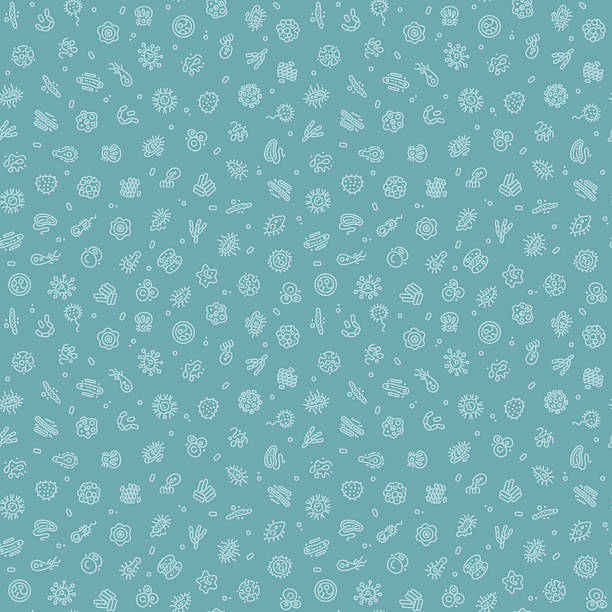 Blue Seamless Pattern with Bacteria and Germs Blue Seamless Pattern with Bacteria and Germs for Medical Design. Editable pattern in swatches. Clipping paths included in additional jpg format. bacillus subtilis stock illustrations