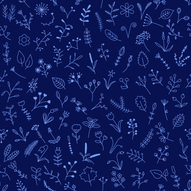 blue seamless pattern with beautiful flowers vector art illustration