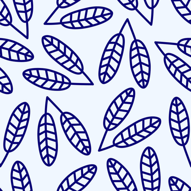 blue seamless pattern with blue flowers vector art illustration