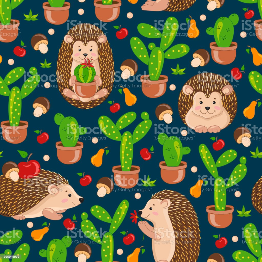 Blue Seamless Pattern With Cute Cartoon Hedgehogs Apple Pears Mushrooms Cacti Cactus Vector Hedgehog Tile Background For Your Design Fabric Textile Wallpaper Or Wrapping Paper Stock Illustration Download Image Now Istock