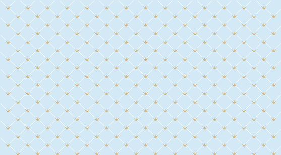 Blue seamless pattern with golden crown. Classic backdrop for invitation card and decoration party (wedding, baby boy shower, birthday)
