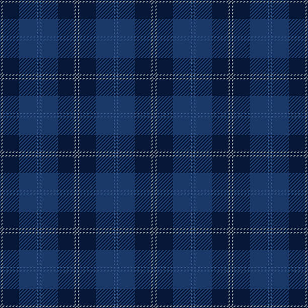 Blue Seamless Tartan Plaid Design Blue seamless tartan plaid textile design. alba stock illustrations
